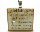 Girl Scout - vintage dictionary Scrabble tile pendant with Swarovski crystal