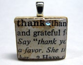 Thank - vintage dictionary Scrabble tile with Swarovski crystal - great gift for a special teacher or volunteer