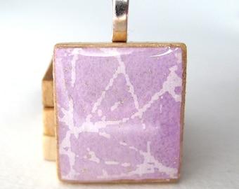 Lavender sparkle Scrabble tile pendant