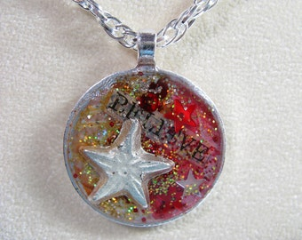 Believe - Silver-plated OOAK pendant with star-shaped milagro and chain