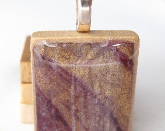 Burgundy gold and silver  Scrabble tile pendant
