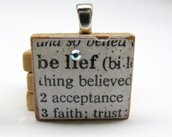 Belief  - vintage dictionary Scrabble tile with Swarovski crystal