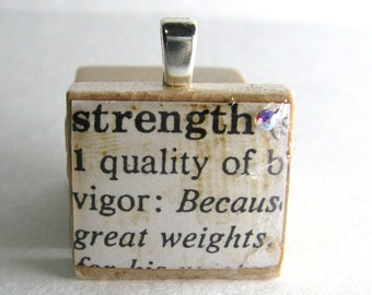 Strength- vintage dictionary Scrabble tile with Swarovski crystal