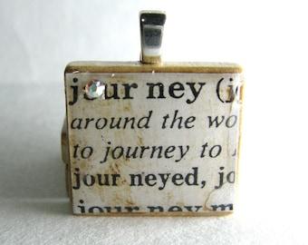 Journey - vintage dictionary Scrabble tile with Swarovski crystal