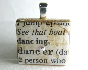 Dancer - vintage dictionary Scrabble tile with Swarovski crystal