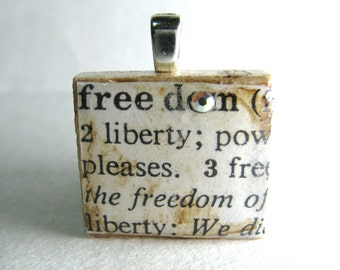 Freedom - vintage dictionary Scrabble tile with Swarovski crystal