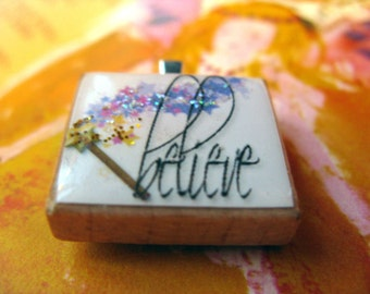 Sparkly Believe Scrabble tile pendant with magic wand
