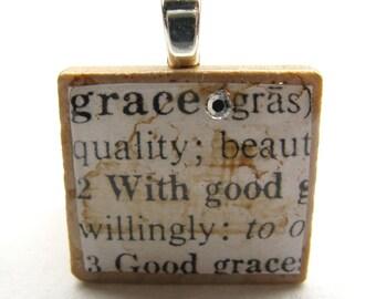 Grace - vintage dictionary Scrabble tile with Swarovski crystal