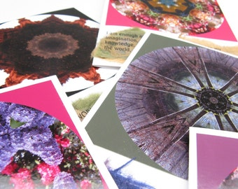 Your choice - package of FOUR hand-crafted collage cards - stock up