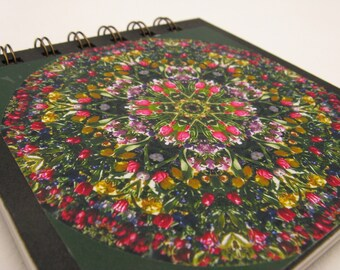 Notepad with tulip garden photographic mandala