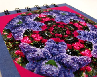 Notepad with lilac and rhododendron photographic mandala