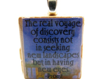 The real voyage of discovery - blue Scrabble tile with Proust quote
