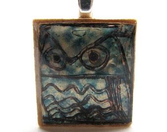 Blue Owl - Glowing metallic Scrabble tile pendant