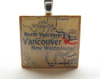 Vancouver, BC Canada - 1950s vintage Scrabble tile map
