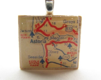 Astoria, Oregon - Your choice of vintage Scrabble tile map