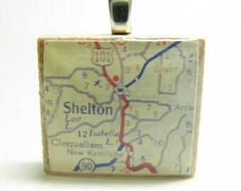 Shelton, Washington - your choice of 1951 or 1962 vintage map Scrabble tile pendant