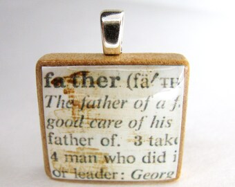 Father - vintage dictionary Scrabble tile - great for cuff links, tie pin, key chain, book mark