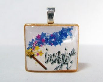 Sparkly Imagine Scrabble tile pendant with magic wand
