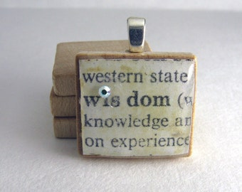 Wisdom - vintage dictionary Scrabble tile with Swarovski crystal