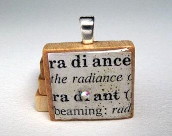 Radiance - Radiant - vintage dictionary Scrabble tile with Swarovski crystal
