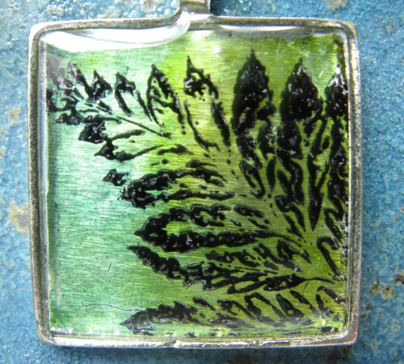 Glowing Green Fern - square silver-plated pendant with chain