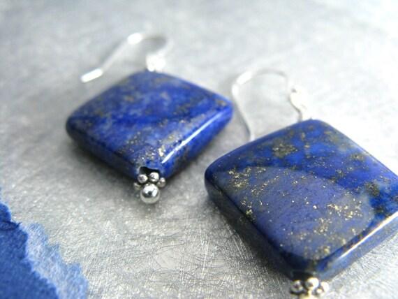 Rich blue lapis lazuli silver earrings