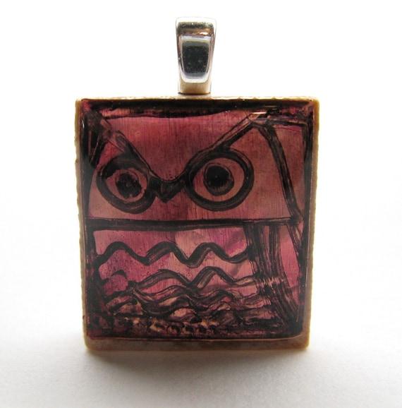 Magenta Owl - Glowing metallic Scrabble tile pendant