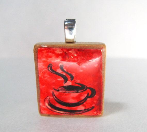 Cup o'joe - Red glowing metallic Scrabble tile pendant with coffee cup