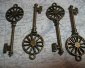 Skeleton Key Steampunk Antique Bronze (2) keys per order