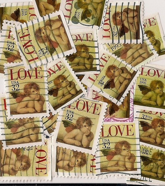 LOVE Stamps 25 Cancelled Angel Cherub