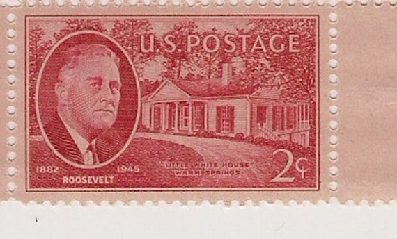 1945 stamps plate block red in honor of Franklin D. Roosevelt Warm Springs, GA
