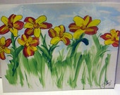 Original DAYLILIES Acrylic Painting on Canvas Paper