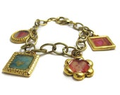 Gold Charm Bracelet with Hearts
