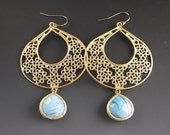 Gold Chandelier Earrings -  Filigree - Blue Teardrop - Keyhole