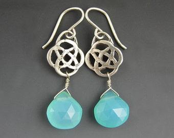 ON SALE / Stelring Silver Celtic Love Knot Earrings / Sterling Silver Gemstone Earrings / Faceted Blue Amazonite
