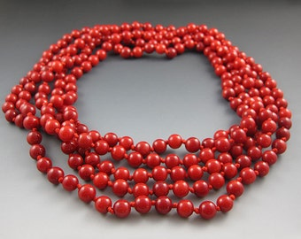 Long Red Beaded Necklace -  Coral -  60 Inches