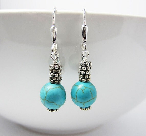 Turquoise Earrings - Sterling Silver - Dangle