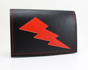 Black/Red Lightning Bolt Mini Wallet - Takin' Care of Business