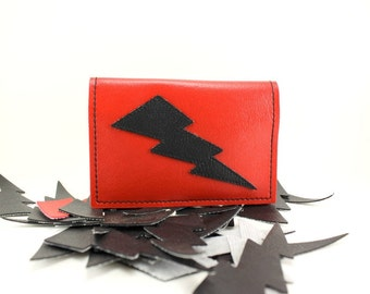 Red and Black Lightning Bolt Credit Card Mini Wallet - Takin Care of Business - TCB