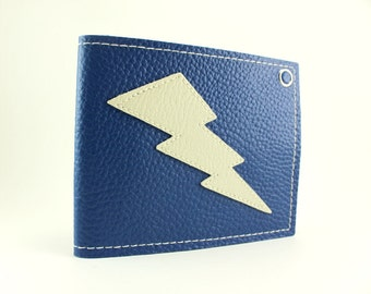 Lightning Bolt Wallet in Blue and White - Takin Care of Business All Day Everyday
