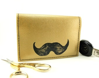 On Sale - The Gold Stash - Mustache Credit Card Mini Wallet - Do It