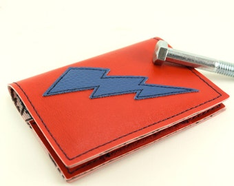 Red and Blue Lightning Bolt Mini Wallet - Other Bolt colors to choose from