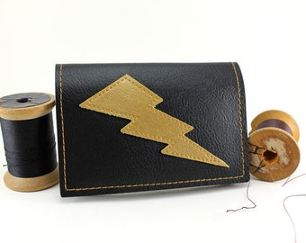 Black Gold Lightning Bolt Mini Wallet - There's Gold in them hills