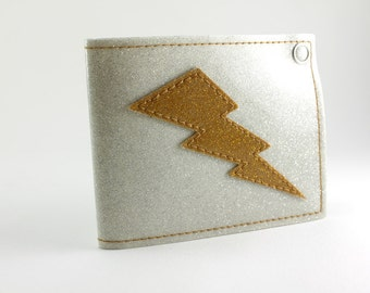White Gold Metal Flake Lightning Bolt Wallet - Takin Care of Business - Other Flakes to choose from