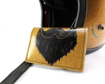 ON SALE - Weird Beard Mini Wallet - Gold Metal Flake
