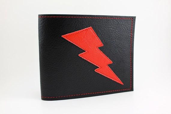 Lightning Bolt Wallet - Red and Black Billfold - Takin' Care of Business