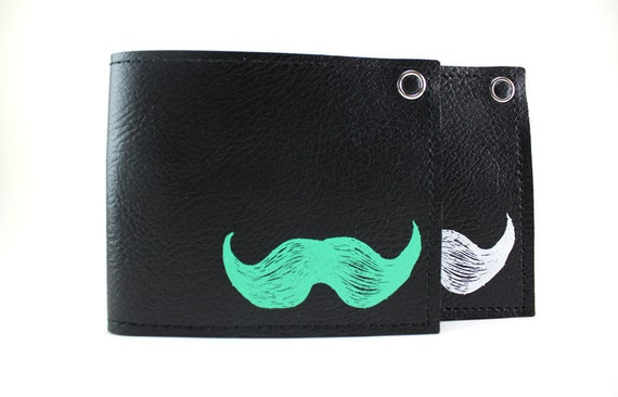 On Sale - Mustache Wallet - Black and Mint - Vegan - Oh so Fresh