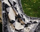 Baby Quilt Crib - black and white