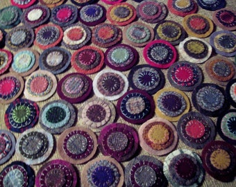 25 Triple stacked Sewn Wool pennies