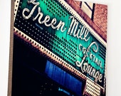 """Wood Photo Block- Chicago Wall Art- Chicago Home Decor- The Green Mill""""  emerald  and indigo photo of  vintage lounge sign- Uptown Chicago"""